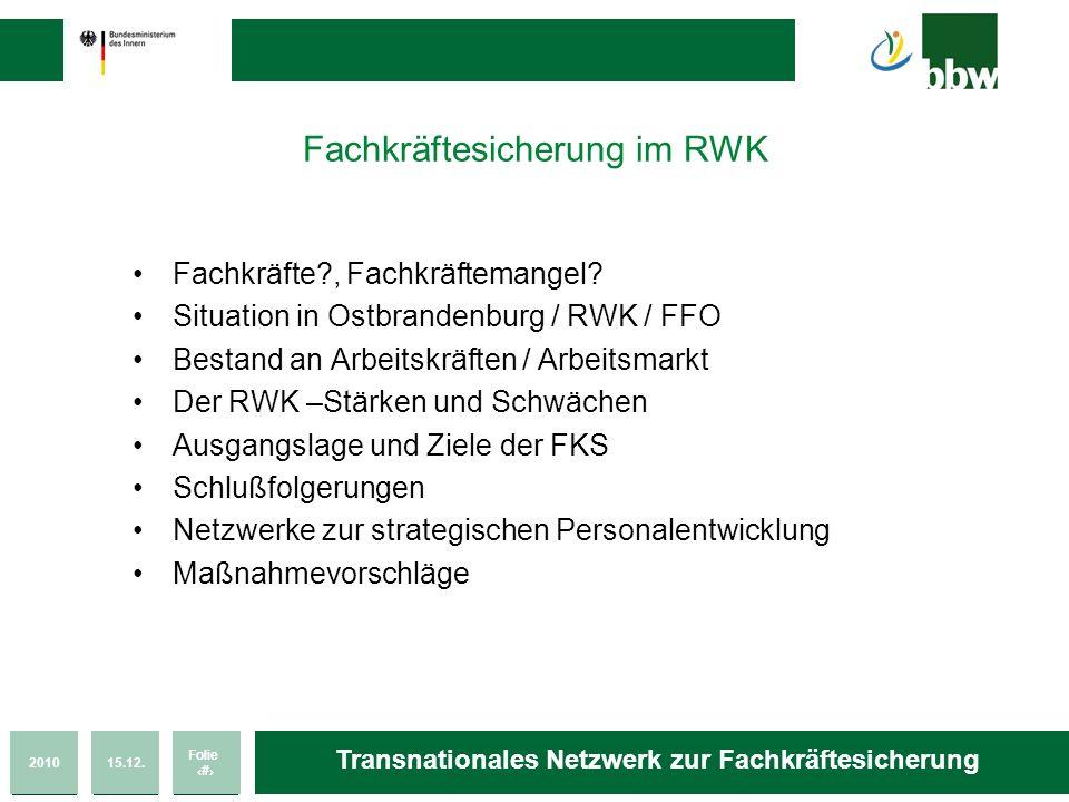 201015.12. Folie 2 Transnationales Netzwerk zur Fachkräftesicherung Fachkräftesicherung im RWK Fachkräfte?, Fachkräftemangel? Situation in Ostbrandenb