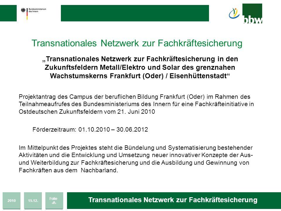 201015.12. Folie 24 Transnationales Netzwerk zur Fachkräftesicherung Transnationales Netzwerk zur Fachkräftesicherung in den Zukunftsfeldern Metall/El