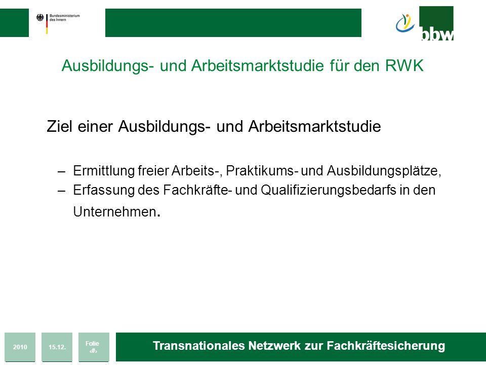 201015.12. Folie 28 Transnationales Netzwerk zur Fachkräftesicherung Ausbildungs- und Arbeitsmarktstudie für den RWK Ziel einer Ausbildungs- und Arbei