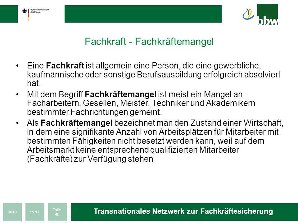 201015.12. Folie 3 Transnationales Netzwerk zur Fachkräftesicherung Fachkraft - Fachkräftemangel Eine Fachkraft ist allgemein eine Person, die eine ge