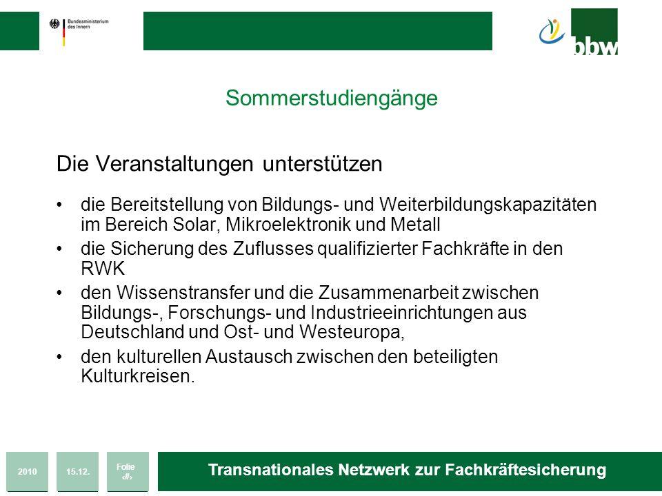 201015.12. Folie 30 Transnationales Netzwerk zur Fachkräftesicherung Sommerstudiengänge Die Veranstaltungen unterstützen die Bereitstellung von Bildun