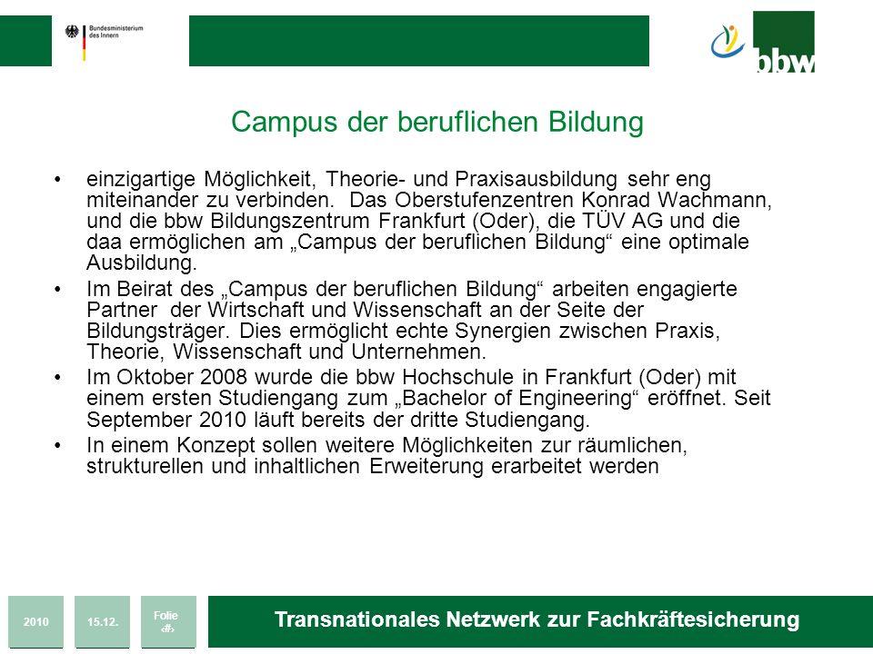 201015.12. Folie 31 Transnationales Netzwerk zur Fachkräftesicherung Campus der beruflichen Bildung einzigartige Möglichkeit, Theorie- und Praxisausbi