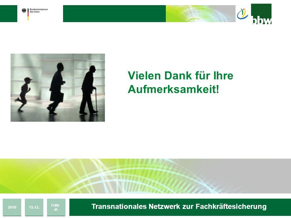 201015.12. Folie 32 Transnationales Netzwerk zur Fachkräftesicherung Vielen Dank für Ihre Aufmerksamkeit!