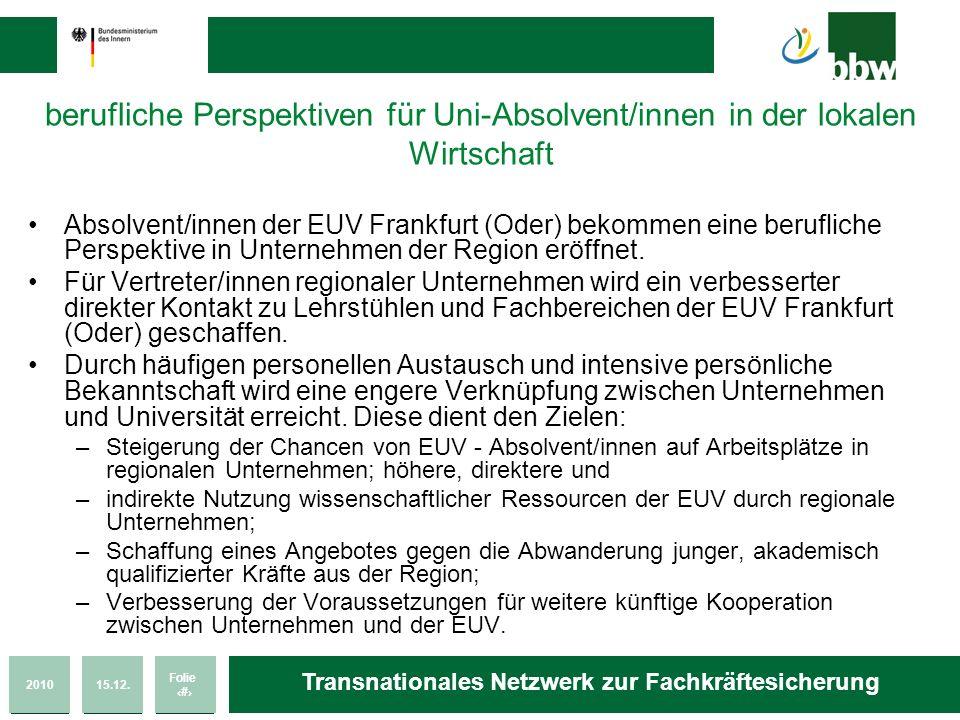 201015.12. Folie 36 Transnationales Netzwerk zur Fachkräftesicherung berufliche Perspektiven für Uni-Absolvent/innen in der lokalen Wirtschaft Absolve