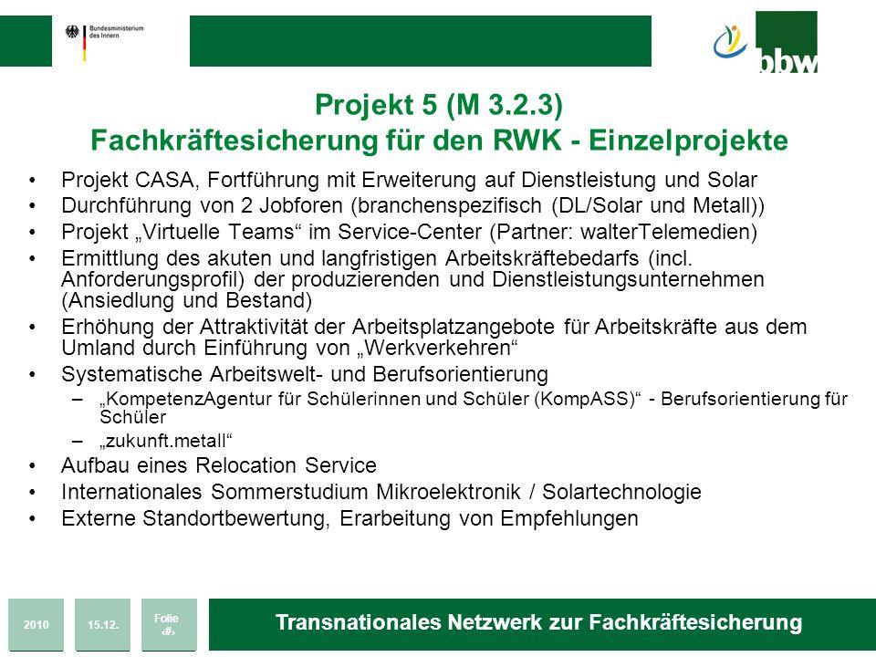 201015.12. Folie 37 Transnationales Netzwerk zur Fachkräftesicherung Projekt 5 (M 3.2.3) Fachkräftesicherung für den RWK - Einzelprojekte Projekt CASA