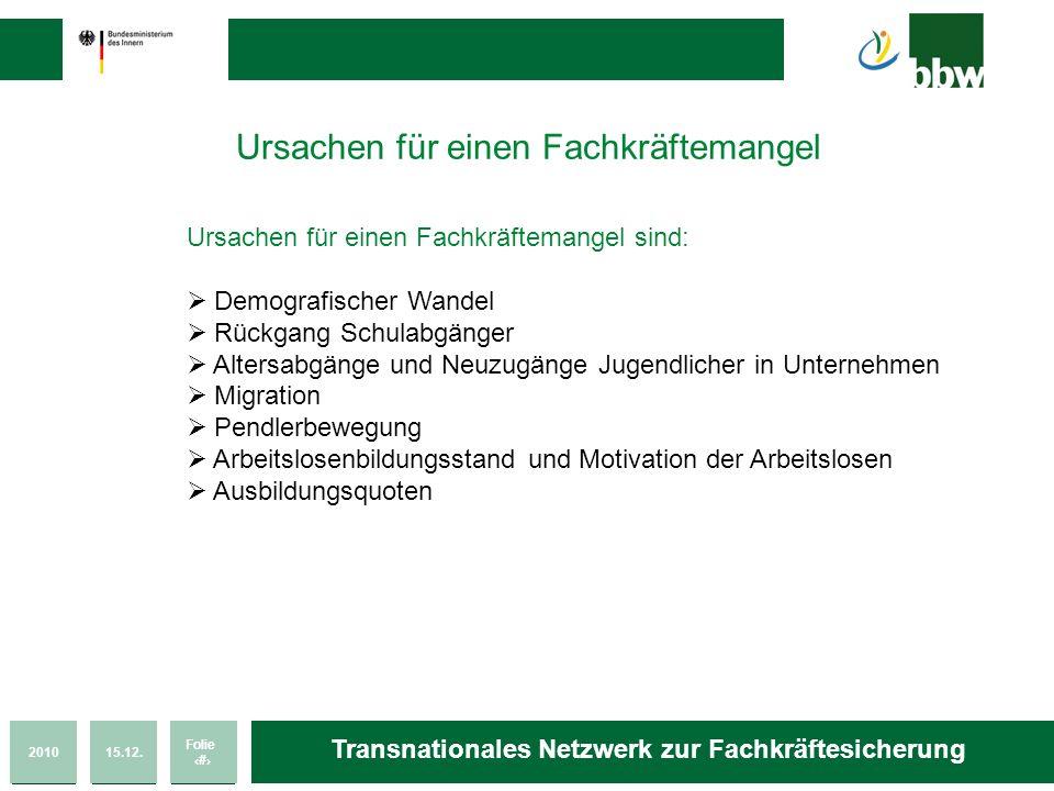 201015.12. Folie 47 Transnationales Netzwerk zur Fachkräftesicherung Ursachen für einen Fachkräftemangel Ursachen für einen Fachkräftemangel sind: Dem