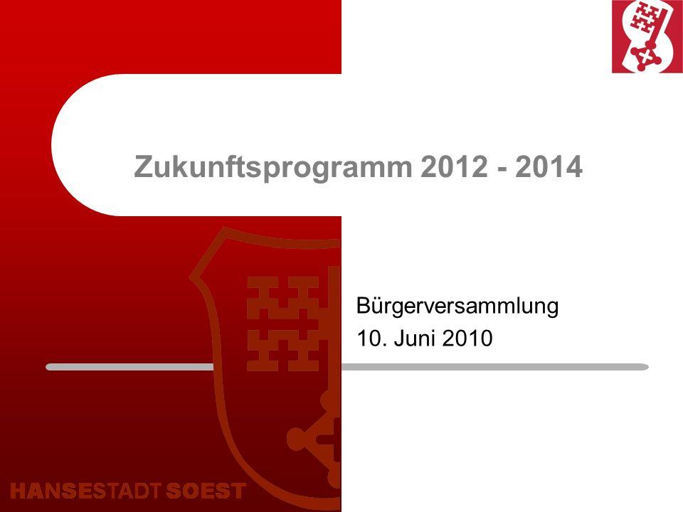 Zukunftsprogramm 2012 - 2014 Bürgerversammlung 10. Juni 2010