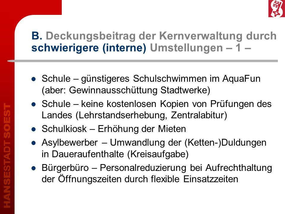 B. Deckungsbeitrag der Kernverwaltung durch schwierigere (interne) Umstellungen – 1 – Schule – günstigeres Schulschwimmen im AquaFun (aber: Gewinnauss