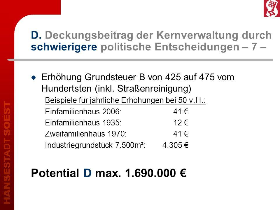 D. Deckungsbeitrag der Kernverwaltung durch schwierigere politische Entscheidungen – 7 – Erhöhung Grundsteuer B von 425 auf 475 vom Hundertsten (inkl.