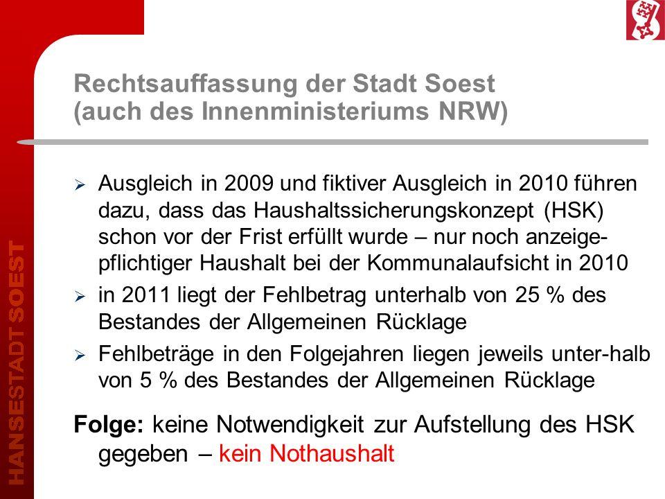 Rechtsauffassung der Stadt Soest (auch des Innenministeriums NRW) Ausgleich in 2009 und fiktiver Ausgleich in 2010 führen dazu, dass das Haushaltssicherungskonzept (HSK) schon vor der Frist erfüllt wurde – nur noch anzeige- pflichtiger Haushalt bei der Kommunalaufsicht in 2010 in 2011 liegt der Fehlbetrag unterhalb von 25 % des Bestandes der Allgemeinen Rücklage Fehlbeträge in den Folgejahren liegen jeweils unter-halb von 5 % des Bestandes der Allgemeinen Rücklage Folge: keine Notwendigkeit zur Aufstellung des HSK gegeben – kein Nothaushalt