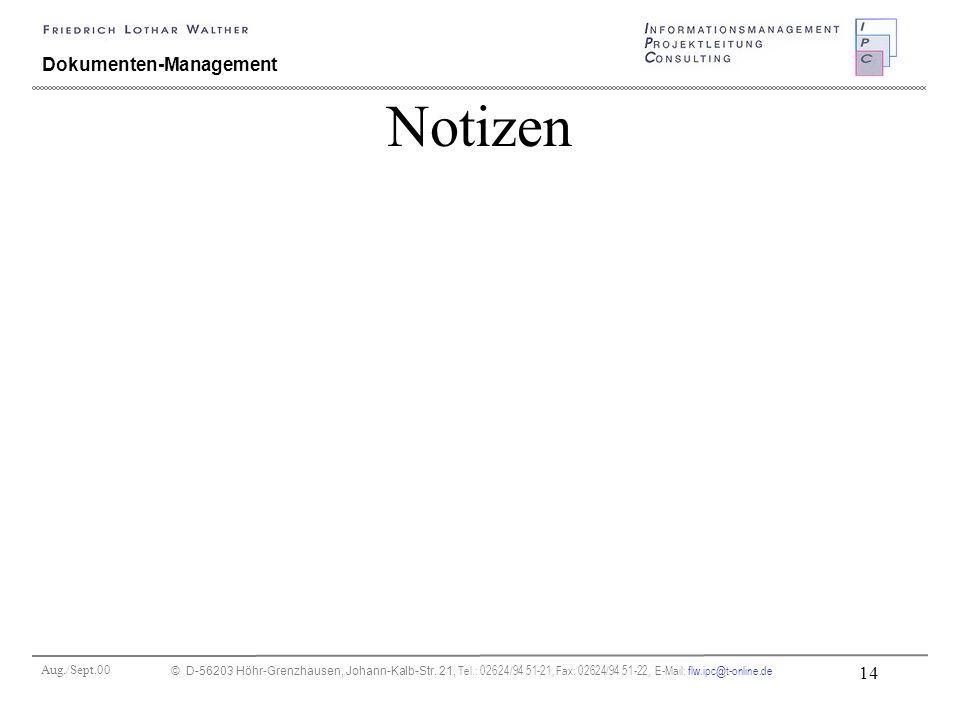 Aug./Sept.00 © D-56203 Höhr-Grenzhausen, Johann-Kalb-Str. 21, Tel.: 02624/94 51-21, Fax: 02624/94 51-22, E-Mail: flw.ipc@t-online.de 14 Dokumenten-Man