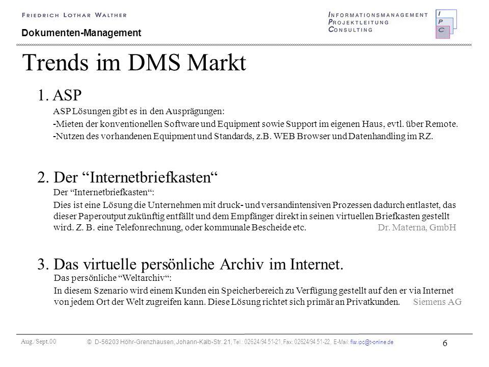 Aug./Sept.00 © D-56203 Höhr-Grenzhausen, Johann-Kalb-Str. 21, Tel.: 02624/94 51-21, Fax: 02624/94 51-22, E-Mail: flw.ipc@t-online.de 6 Dokumenten-Mana