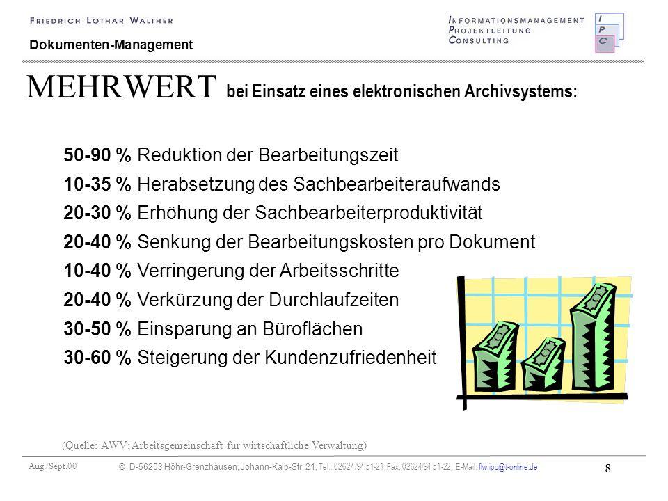 Aug./Sept.00 © D-56203 Höhr-Grenzhausen, Johann-Kalb-Str. 21, Tel.: 02624/94 51-21, Fax: 02624/94 51-22, E-Mail: flw.ipc@t-online.de 8 Dokumenten-Mana