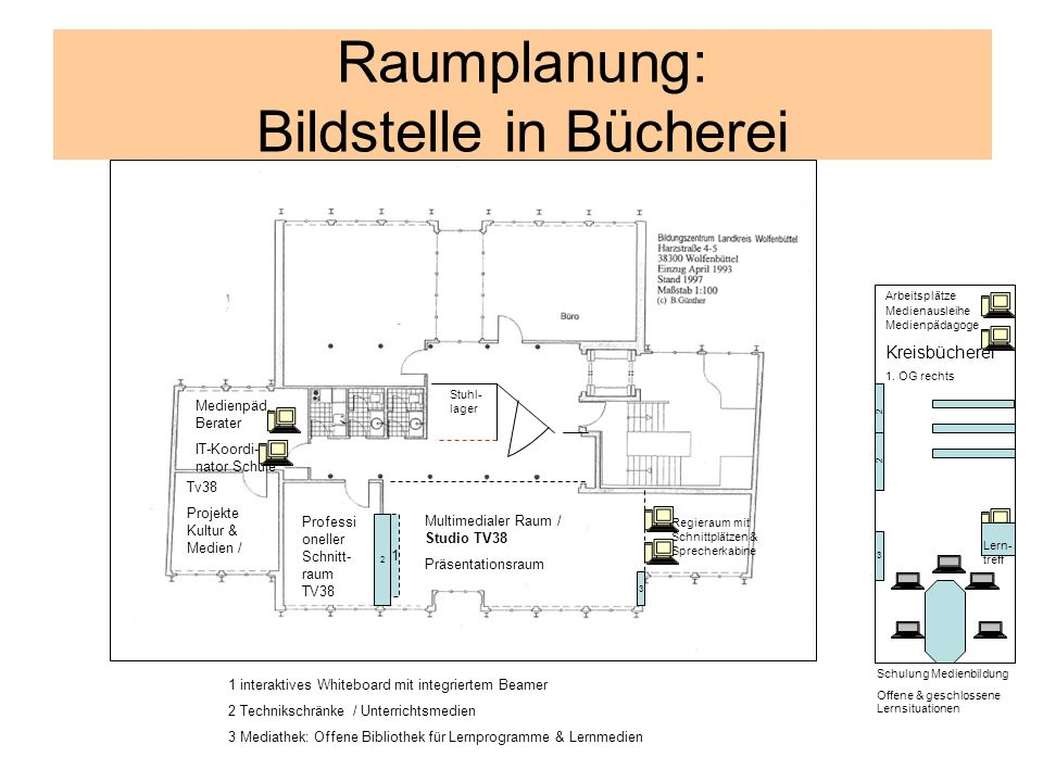 Raumplanung: Bildstelle in Bücherei Professi oneller Schnitt- raum TV38 1 2 Multimedialer Raum / Studio TV38 Präsentationsraum Tv38 Projekte Kultur &