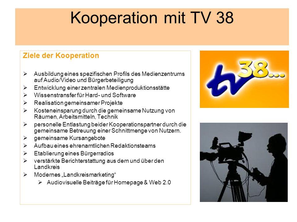 Kooperation mit TV 38 Ziele der Kooperation Ausbildung eines spezifischen Profils des Medienzentrums auf Audio/Video und Bürgerbeteiligung Entwicklung