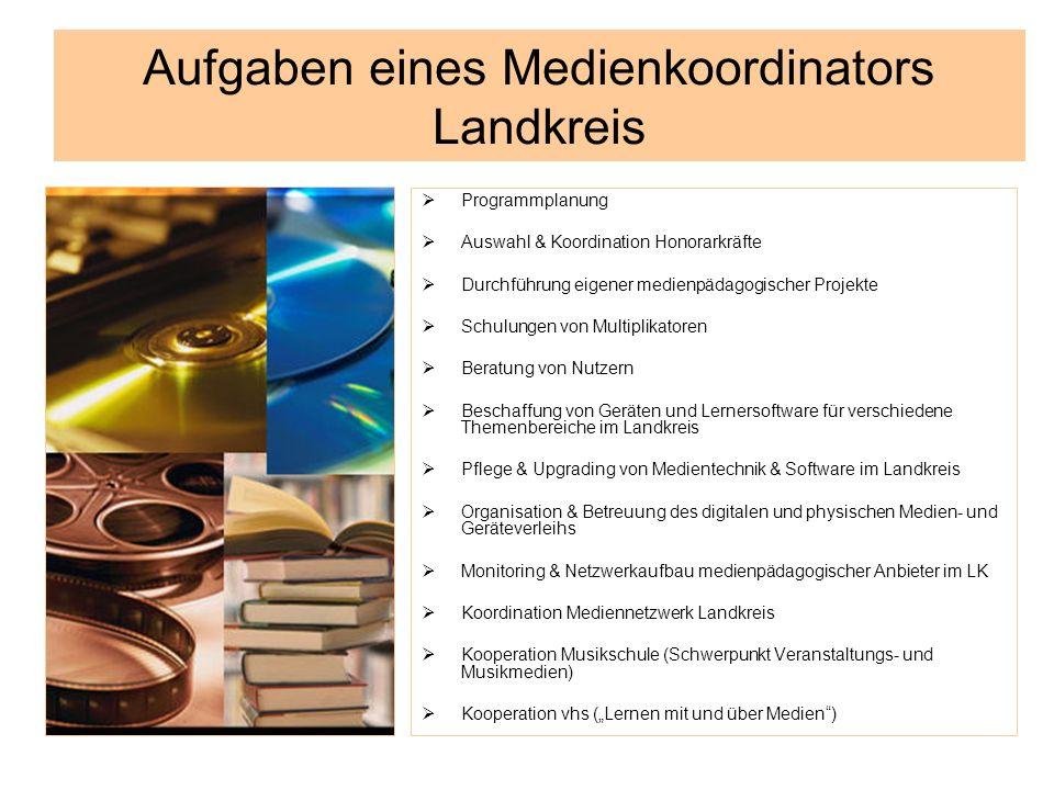Aufgaben eines Medienkoordinators Landkreis Programmplanung Auswahl & Koordination Honorarkräfte Durchführung eigener medienpädagogischer Projekte Sch