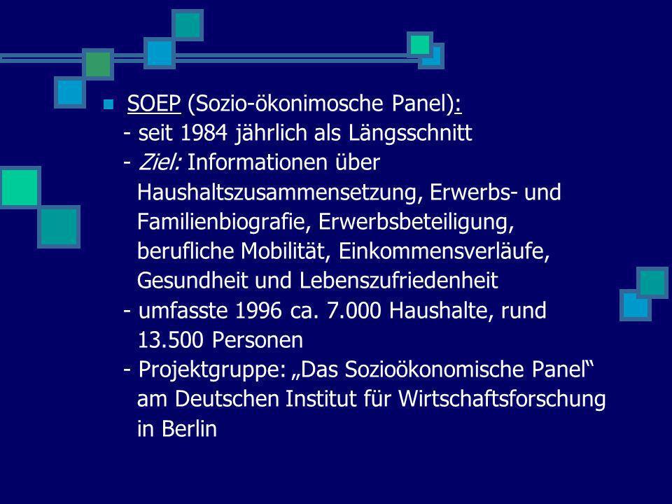 SOEP (Sozio-ökonimosche Panel): - seit 1984 jährlich als Längsschnitt - Ziel: Informationen über Haushaltszusammensetzung, Erwerbs- und Familienbiogra