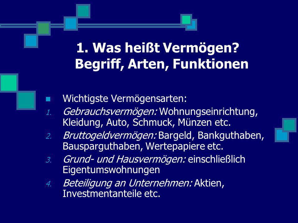 1. Was heißt Vermögen? Begriff, Arten, Funktionen Wichtigste Vermögensarten: 1. Gebrauchsvermögen: Wohnungseinrichtung, Kleidung, Auto, Schmuck, Münze
