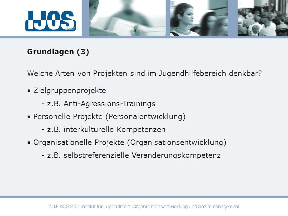 © IJOS GmbH Institut für Jugendrecht, Organisationsentwicklung und Sozialmanagement Grundlagen (3) Welche Arten von Projekten sind im Jugendhilfeberei