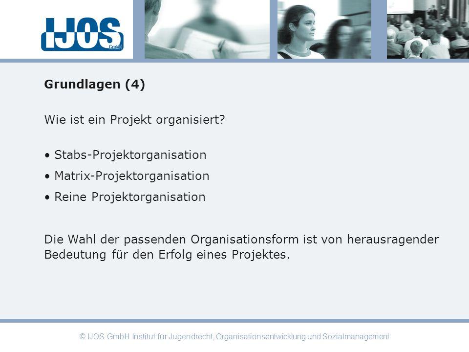 © IJOS GmbH Institut für Jugendrecht, Organisationsentwicklung und Sozialmanagement Grundlagen (4) Wie ist ein Projekt organisiert? Stabs-Projektorgan