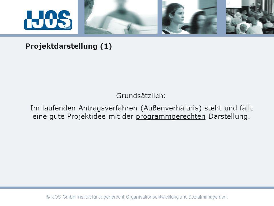 © IJOS GmbH Institut für Jugendrecht, Organisationsentwicklung und Sozialmanagement Projektdarstellung (1) Grundsätzlich: Im laufenden Antragsverfahre