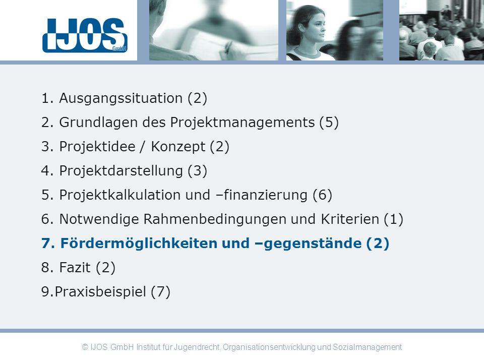 © IJOS GmbH Institut für Jugendrecht, Organisationsentwicklung und Sozialmanagement 1. Ausgangssituation (2) 2. Grundlagen des Projektmanagements (5)
