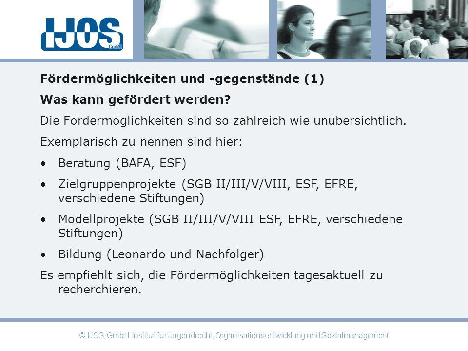 © IJOS GmbH Institut für Jugendrecht, Organisationsentwicklung und Sozialmanagement Fördermöglichkeiten und -gegenstände (1) Was kann gefördert werden