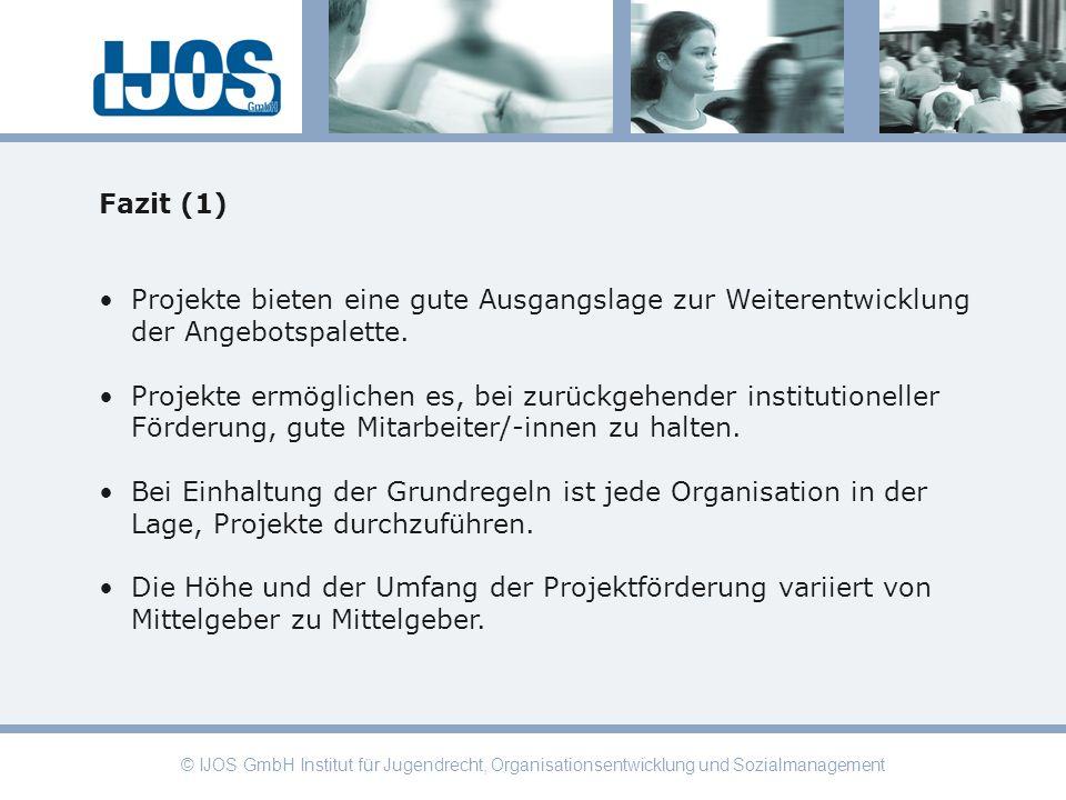© IJOS GmbH Institut für Jugendrecht, Organisationsentwicklung und Sozialmanagement Fazit (1) Projekte bieten eine gute Ausgangslage zur Weiterentwick