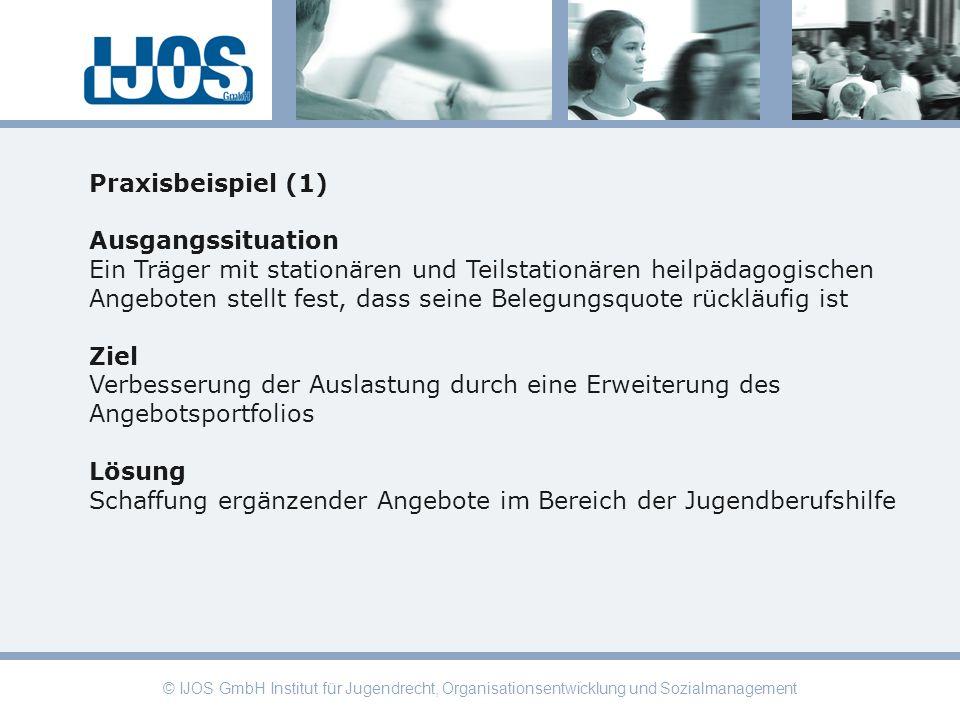 © IJOS GmbH Institut für Jugendrecht, Organisationsentwicklung und Sozialmanagement Praxisbeispiel (1) Ausgangssituation Ein Träger mit stationären un
