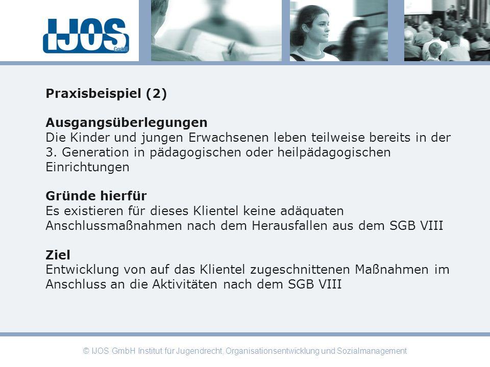 © IJOS GmbH Institut für Jugendrecht, Organisationsentwicklung und Sozialmanagement Praxisbeispiel (2) Ausgangsüberlegungen Die Kinder und jungen Erwa