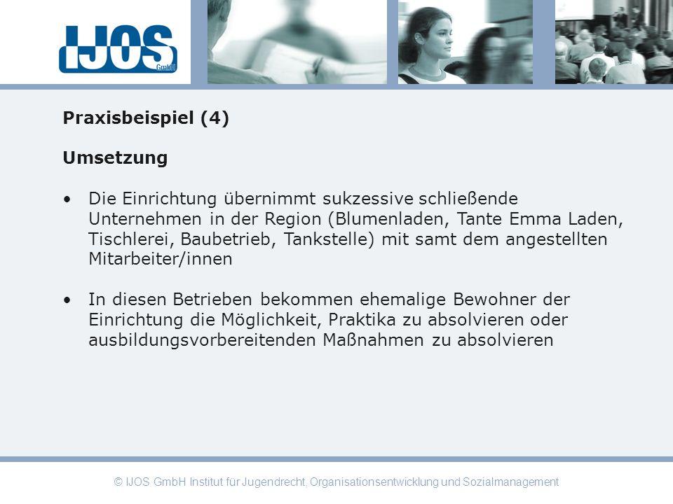 © IJOS GmbH Institut für Jugendrecht, Organisationsentwicklung und Sozialmanagement Praxisbeispiel (4) Umsetzung Die Einrichtung übernimmt sukzessive
