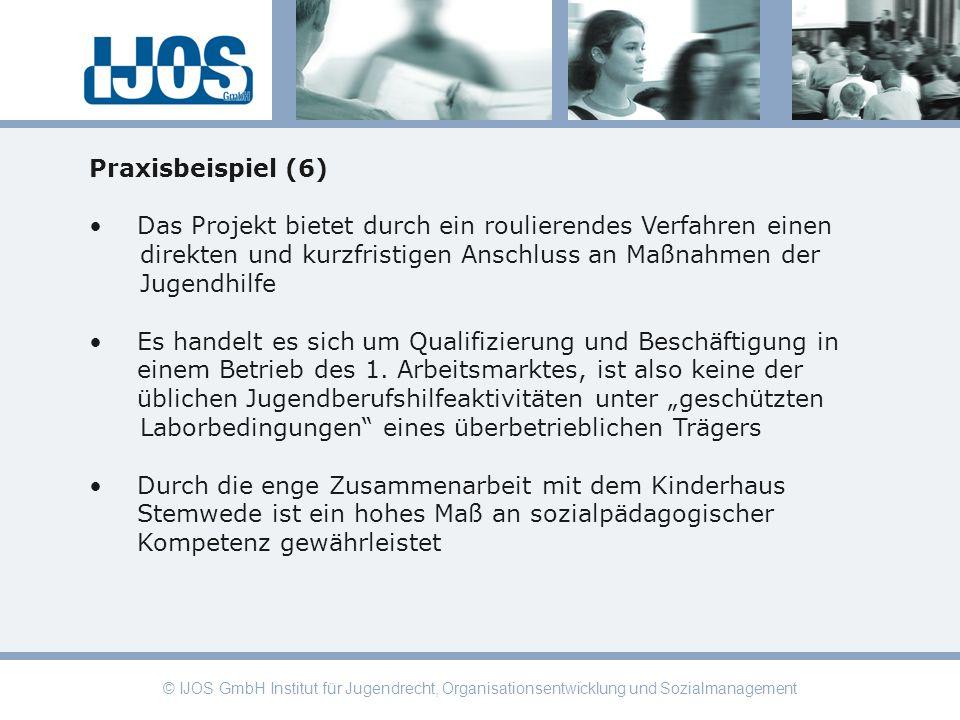 © IJOS GmbH Institut für Jugendrecht, Organisationsentwicklung und Sozialmanagement Praxisbeispiel (6) Das Projekt bietet durch ein roulierendes Verfa