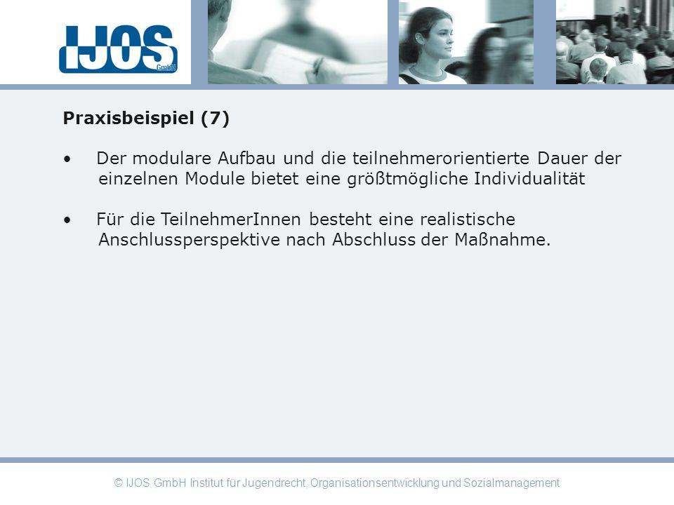 © IJOS GmbH Institut für Jugendrecht, Organisationsentwicklung und Sozialmanagement Praxisbeispiel (7) Der modulare Aufbau und die teilnehmerorientier