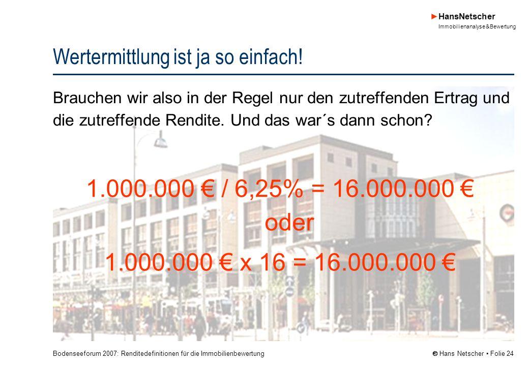 Bodenseeforum 2007: Renditedefinitionen für die Immobilienbewertung HansNetscher Immobilienanalyse & Bewertung Hans Netscher Folie 24 Wertermittlung ist ja so einfach.