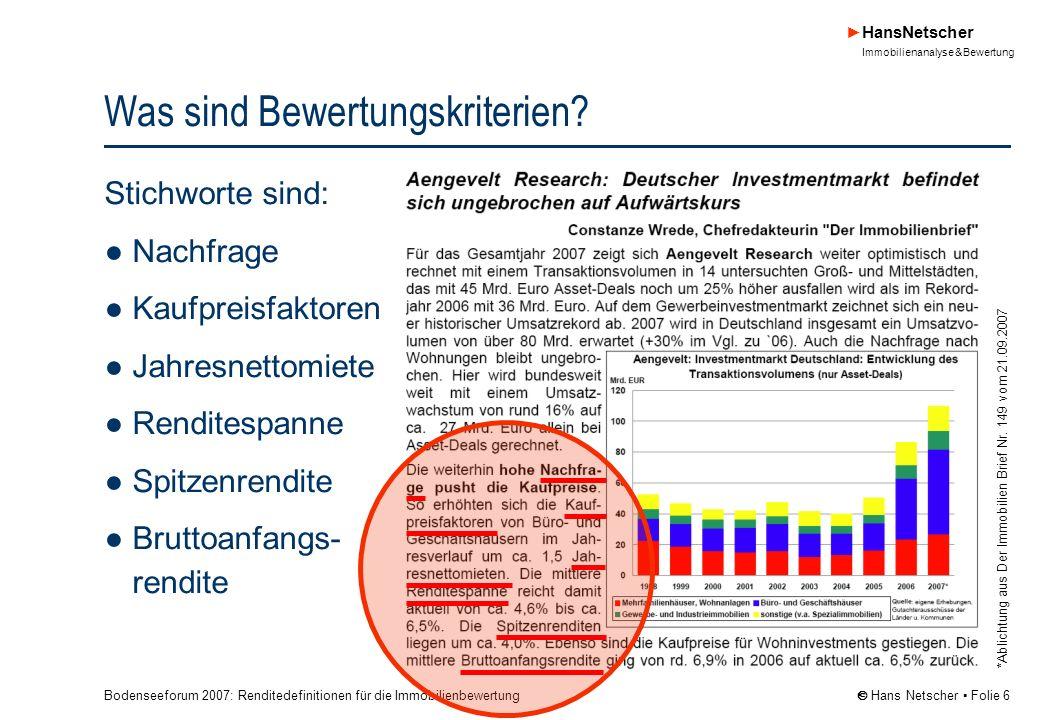 Bodenseeforum 2007: Renditedefinitionen für die Immobilienbewertung HansNetscher Immobilienanalyse & Bewertung Hans Netscher Folie 27 Vielen Dank für Ihre Aufmerksamkeit.