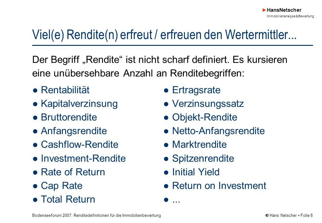 Bodenseeforum 2007: Renditedefinitionen für die Immobilienbewertung HansNetscher Immobilienanalyse & Bewertung Hans Netscher Folie 19 Für die Wertermittlung des Bewertungsobjekts gilt Mieten sind in der Regel Marktmieten* zu mietmarktüblichen Bedingungen in Hinblick auf Mietehöhe (Nominal- bzw.