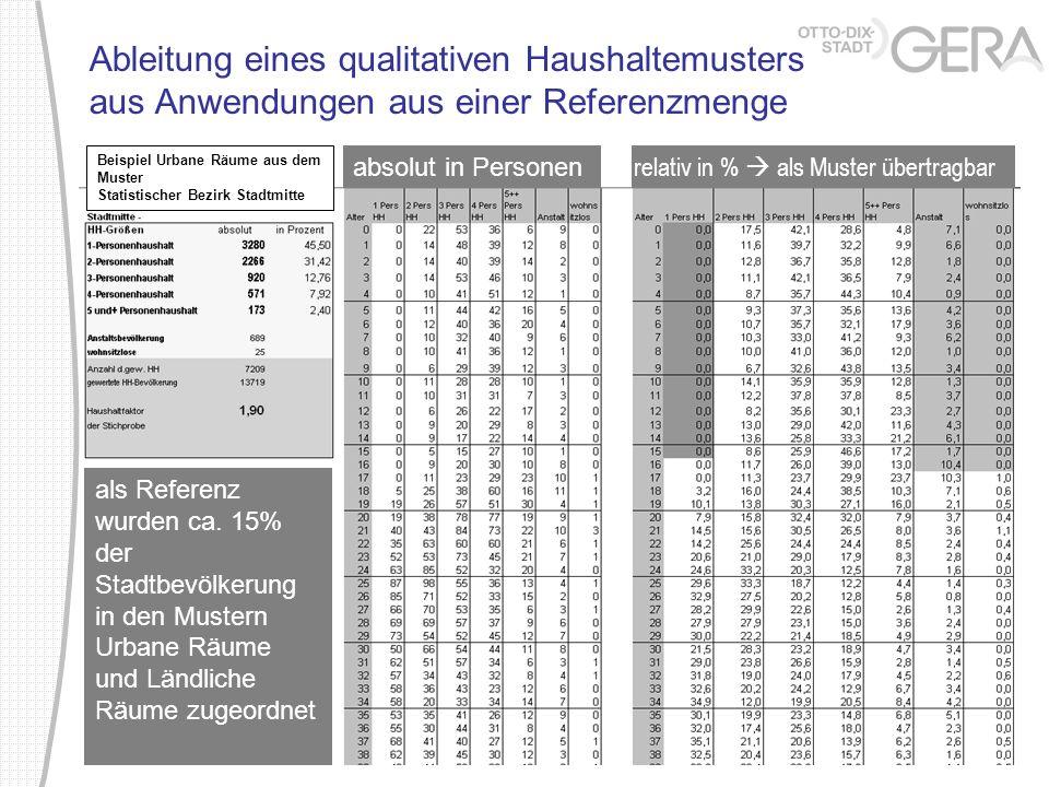 Ableitung eines qualitativen Haushaltemusters aus Anwendungen aus einer Referenzmenge absolut in Personen relativ in % als Muster übertragbar als Refe