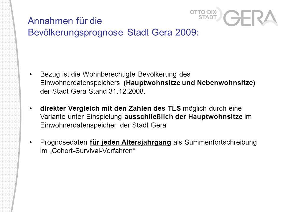 Bezug ist die Wohnberechtigte Bevölkerung des Einwohnerdatenspeichers (Hauptwohnsitze und Nebenwohnsitze) der Stadt Gera Stand 31.12.2008. direkter Ve