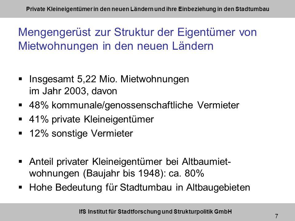 IfS Institut für Stadtforschung und Strukturpolitik GmbH Private Kleineigentümer in den neuen Ländern und ihre Einbeziehung in den Stadtumbau 7 Mengengerüst zur Struktur der Eigentümer von Mietwohnungen in den neuen Ländern Insgesamt 5,22 Mio.