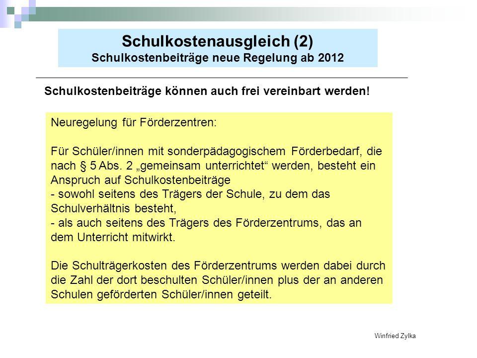 Schulkostenausgleich (2) Schulkostenbeiträge neue Regelung ab 2012 Schulkostenbeiträge können auch frei vereinbart werden! Winfried Zylka Neuregelung