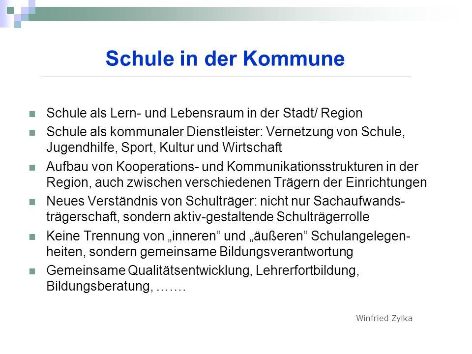 Schule in der Kommune Schule als Lern- und Lebensraum in der Stadt/ Region Schule als kommunaler Dienstleister: Vernetzung von Schule, Jugendhilfe, Sp
