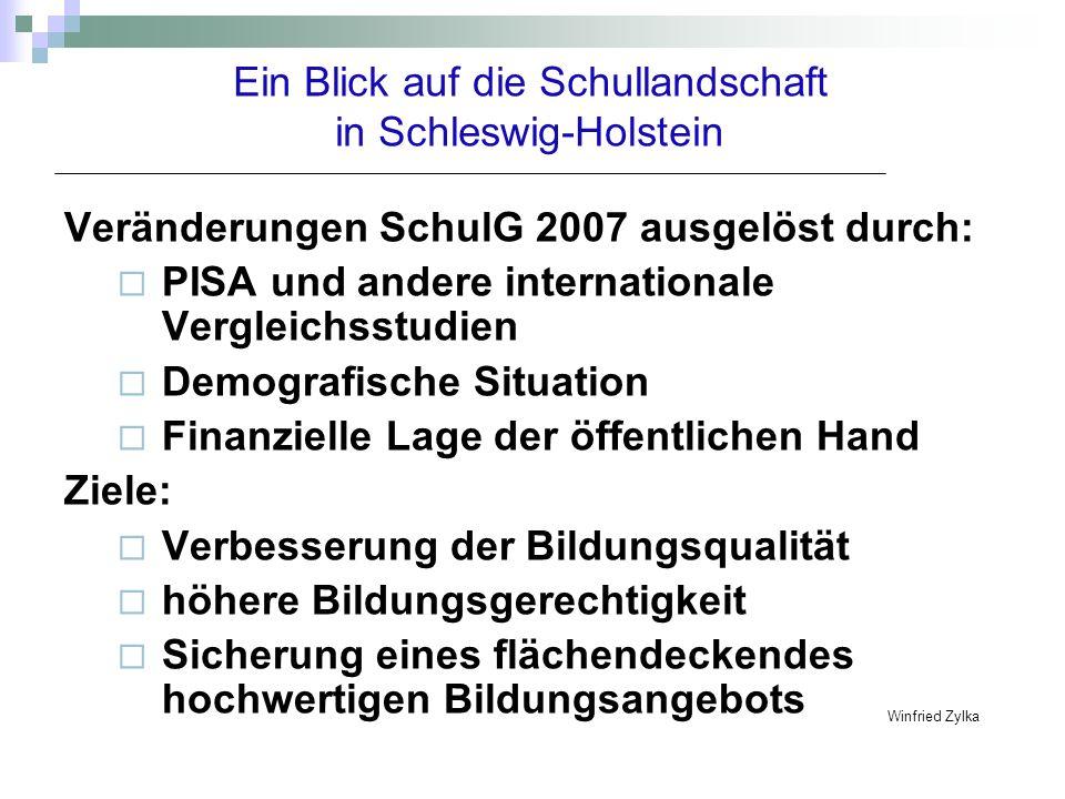 Ein Blick auf die Schullandschaft in Schleswig-Holstein Veränderungen SchulG 2007 ausgelöst durch: PISA und andere internationale Vergleichsstudien De