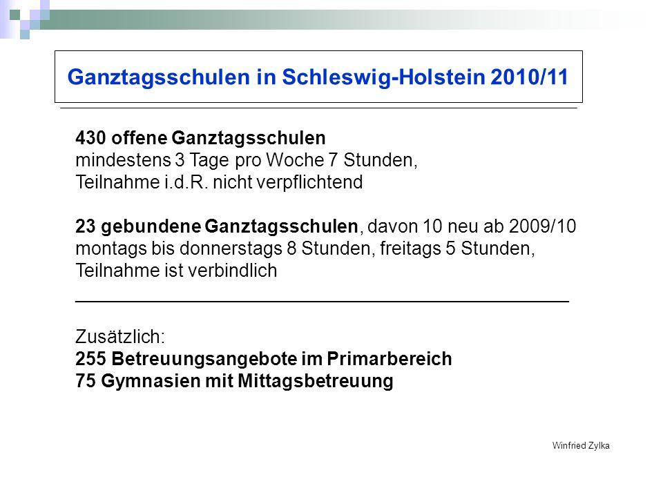 Ganztagsschulen in Schleswig-Holstein 2010/11 Winfried Zylka 430 offene Ganztagsschulen mindestens 3 Tage pro Woche 7 Stunden, Teilnahme i.d.R. nicht