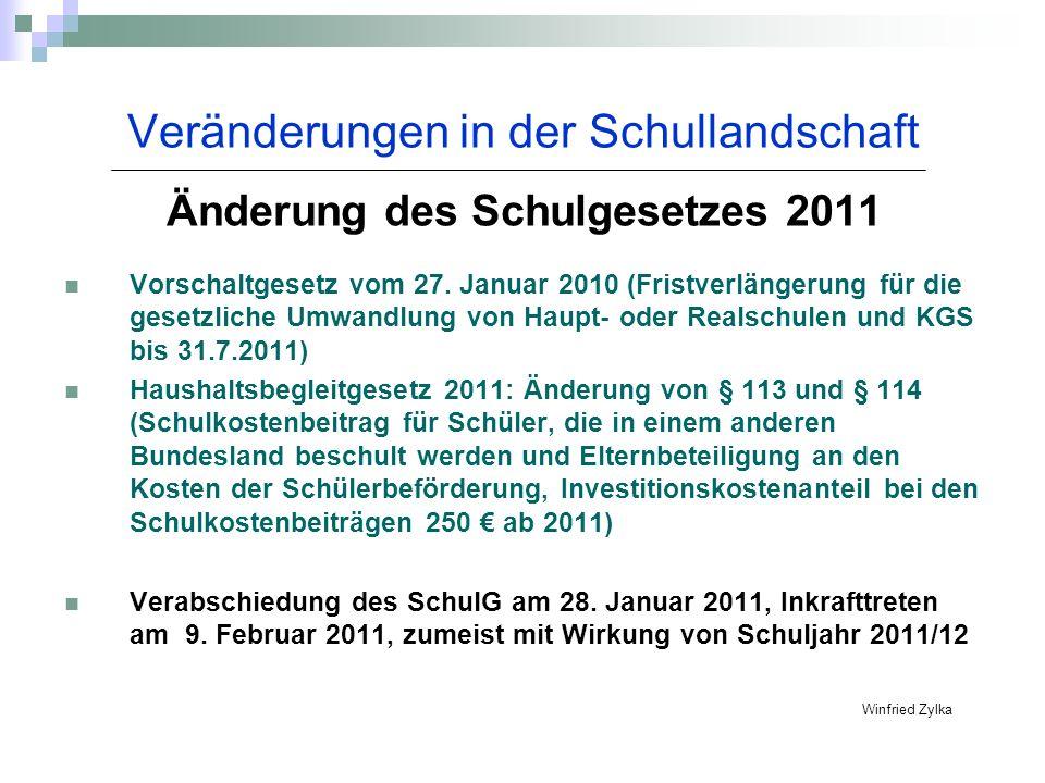 Veränderungen in der Schullandschaft Änderung des Schulgesetzes 2011 Vorschaltgesetz vom 27. Januar 2010 (Fristverlängerung für die gesetzliche Umwand