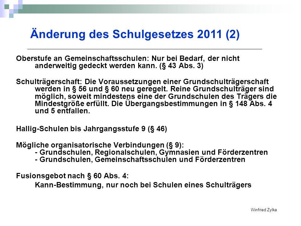 Winfried Zylka Änderung des Schulgesetzes 2011 (3) Neuregelung des Schullastenausgleichs ab 1.1.2012 : Schulkostenbeiträge werden nicht mehr vom Ministerium festgelegt.