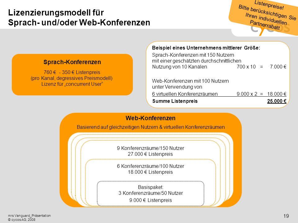 Kurztitel mrs Vanguard_Präsentation © cycos AG, 2008 18 Angebot von Sprach- und Web-Konferenzen mit mrs Vanguard Wo ist ein Angebot von Sprach- und We