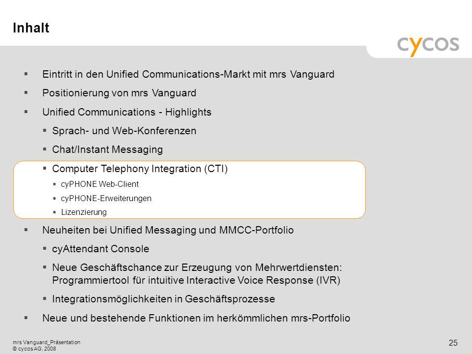 Kurztitel mrs Vanguard_Präsentation © cycos AG, 2008 24 Instant Messaging - Kernpunkte Intuitive Nutzung durch verschiedene Möglichkeiten, eine Chat-S