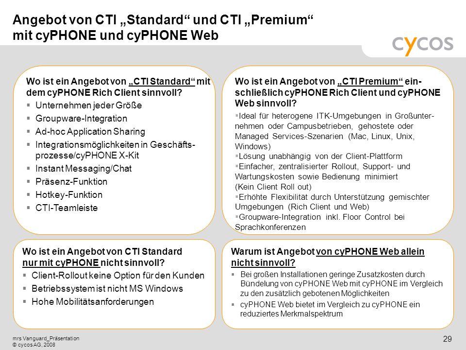 Kurztitel mrs Vanguard_Präsentation © cycos AG, 2008 28 cyPHONE Rich Client Neuheiten mit mrs Vanguard Geschäftsprozessintegration mit MS CRM 4.0 (HF