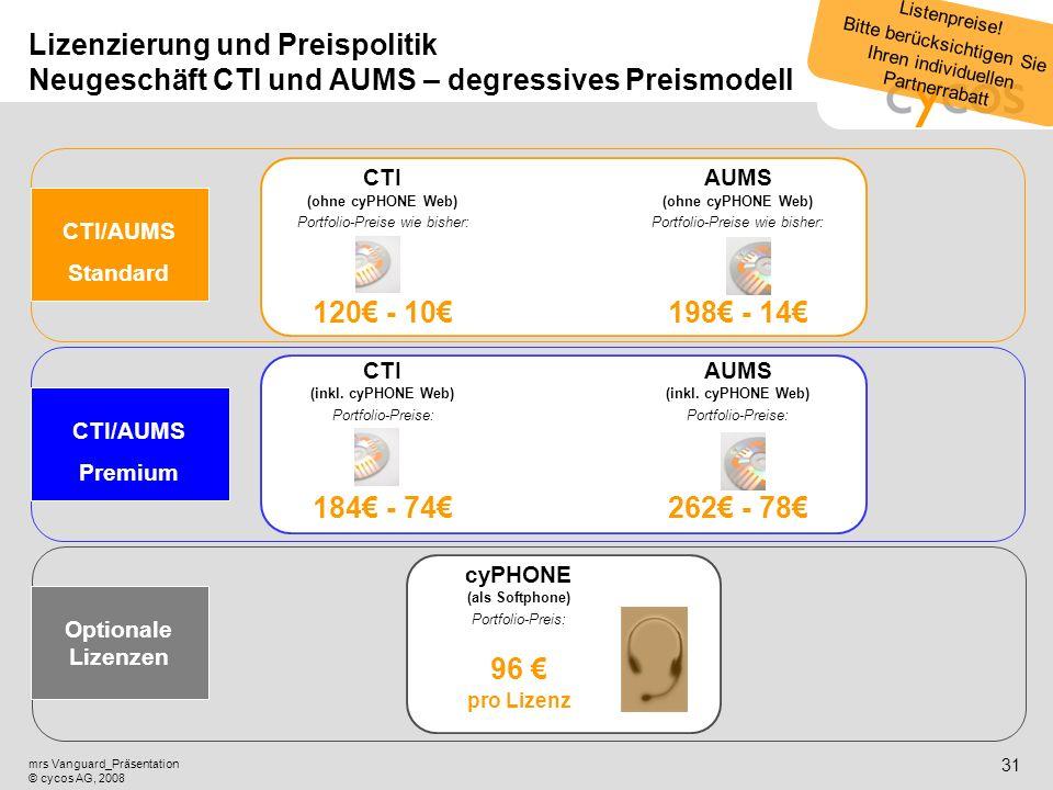 Kurztitel mrs Vanguard_Präsentation © cycos AG, 2008 30 Lizenzierung und Preispolitik Migrationsgeschäft CTI und AUMS Standard- Upgrade CTI (ohne cyPH