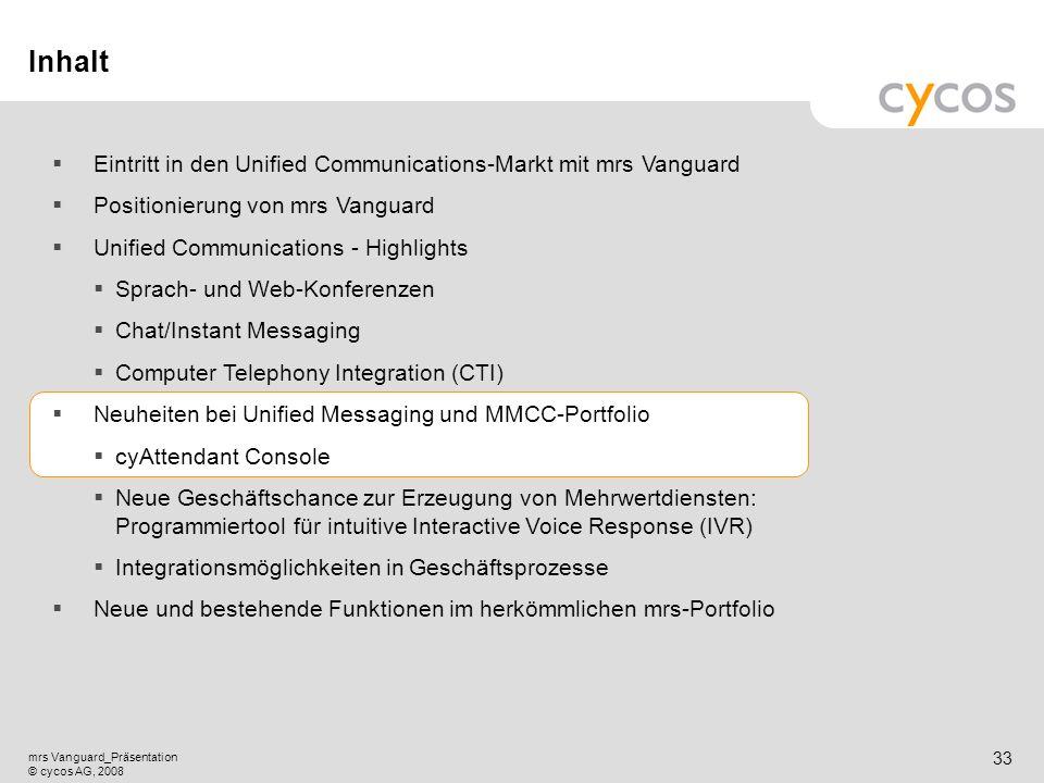 Kurztitel mrs Vanguard_Präsentation © cycos AG, 2008 32 CTI mit cyPHONE und cyPHONE Web Kernpunkte CTI Premium ist ein neues Lizenzpaket für cyPHONE u